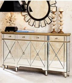 Get some old Hollywood glamour in your home - mirrored furniture - console and mirror with lamp.jpg