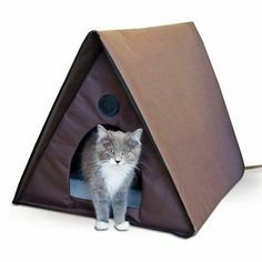 K H Outdoor Heated Kitty A Frame Cat Bed House Waterproof Keep Kitties Warm | eBay