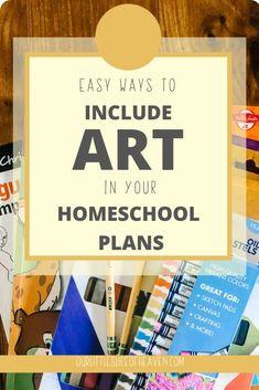 "How to Make Homeschool Art ""Easy"" - Our Little Slice of Heaven Kindergarten Homeschool Curriculum, Art Curriculum, Homeschooling, Kids Learning Activities, Fun Learning, Art Activities, Book Drawing, School Subjects, Teaching Art"