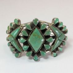 Green Turquoise and Sterling Silver Cuff