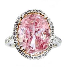 Natural 5.05 Carat Fancy Pink GIA Certified Diamond RIng. | From a unique collection of vintage solitaire rings at http://www.1stdibs.com/jewelry/rings/solitaire-rings/