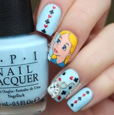The Best Nail Art Designs – Your Beautiful Nails Love Nails, How To Do Nails, Fun Nails, Pretty Nails, Disney Nail Designs, Cool Nail Designs, Alice In Wonderland Nails, Trendy Nail Art, Disney Nails