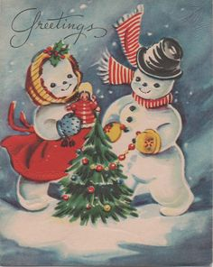 Used c1950s Christmas Card Greetings Snowman and by VintageNEJunk