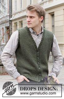 Mens Vest Pattern, Mens Knit Sweater Pattern, Drops Design, Knitting Patterns Uk, Free Knitting, Mens Sleeveless Cardigan, Work Tops, Drops Karisma, Winter