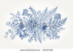 Bouquet with a vintage garden with flowers and leaves. Vector botanical illustration. Chrysanthemum, tulip, peony, anemone, phlox, ferns, boxwood. Design elements. Blue flowers.
