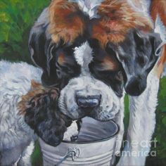 Choose your favorite saint bernard dog paintings from millions of available designs. All saint bernard dog paintings ship within 48 hours and include a money-back guarantee. St Bernard Puppy, Dog Paintings, Animal Tattoos, Dog Art, Canvas Art Prints, Dogs And Puppies, Doggies, Saints, Lee Ann