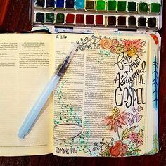 Another wonderful Sunday morning.  Romans 1:16. I am not ashamed of the Gospel!! #illustratedfaith #biblejournalingcommunity #idrawinmybible #biblejournaling