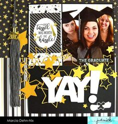 - Graduation Scrapbook layout created with the Grad Simple Set from Simple Stories and digital cut files from JustNick Studios. Senior Year Scrapbook, Couple Scrapbook, School Scrapbook Layouts, Graduation Scrapbook, Christmas Scrapbook Layouts, Vacation Scrapbook, Birthday Scrapbook, Kids Scrapbook, Photo Album Scrapbooking