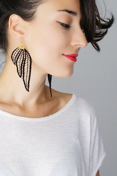 Tubero // Statement Earrings/ Lace Earrings/ Black by EPUU on Etsy