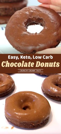 These Keto Hershey's Chocolate Donuts are decadently rich. Yet they are sugar-free, grain-free, gluten-free and dairy-free. One Bowl Chocolate Cake Recipe, Chocolate Cake Donuts, Best Chocolate Desserts, Low Carb Chocolate, Diabetic Breakfast Recipes, Quick Keto Breakfast, Low Carb Donut, Keto Donuts, Protein Donuts