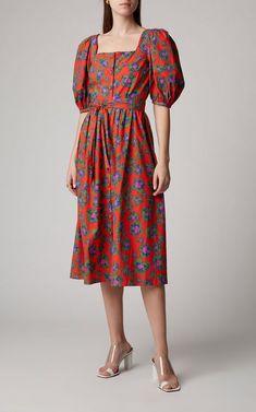 Borgo de Nor Corin Printed Cotton-Poplin Midi Dress Size: 6 Kimono Fashion, Modest Fashion, Fashion Dresses, Casual Dresses, Summer Dresses, Heart Dress, Simple Outfits, Chiffon Dress, Cotton Dresses