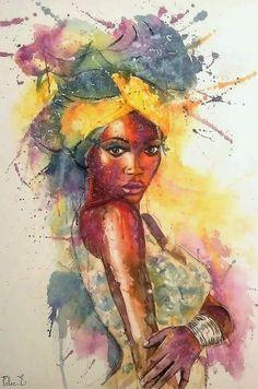 black girl art watercolor ~ schwarz… – Graffiti World Black Love Art, Black Girl Art, Art Girl, Graffiti Kunst, Art Watercolor, Simple Watercolor, Afrique Art, Frida Art, African Art Paintings