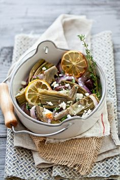 Braised Artichoke Hearts With Olives & Feta by tartelette.  Love that I have all the ingredients at home!