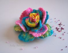 Felt flower brooch multi colors rose Wool Felt Jewelry by ArteAnRy, €15.00