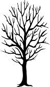 Black vector image of tree with no leaves