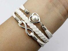 Charm bracelet infinity wish bracelet heart bracelet white wax cord and braid.