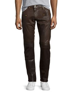 Motard Wax-Coated Jeans, Dark Brown, Size: 42 - Robin's Jean