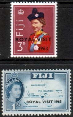 Postage Stamps Fiji 1963 Queen Elizabeth II Royal Visit Set Fine Mint SG 326 - 7 Scott 196 - 7 Other European and British Commonwealth Stamps HERE!