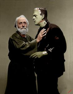 Boris Karloff as the monster and O. Heggie as the hermit in The Bride of Frankenstein, (Colorized) One Great Film. Classic Monster Movies, Classic Horror Movies, Classic Monsters, Mary Shelley Frankenstein, Bride Of Frankenstein, Sci Fi Horror, Horror Films, Horror Art, Gothic Horror