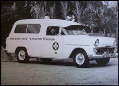Ek Holden van set up as an ambulance Bus Engine, Fire Engine, Old Trucks, Fire Trucks, Ambulance Pictures, Holden Australia, Australian Cars, Vintage Medical, Old Classic Cars