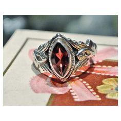 Garnet Ring 925 Sterling Silver Native by PattysJewelryEtc on Etsy ($49) found on Polyvore