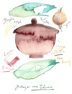 A northern soup recipe - Original watercolor painting