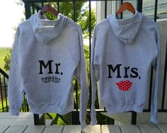 Mr and Mrs honeymoon gray hoodies with mustache and red lips applique HIS and HERS original couples wedding gift or shower gift via Etsy