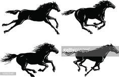 Arte vectorial : Silhouettes of Horses Running