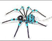 Kellan - blue and black glass beaded spider goth sun catcher - Hallowe ...