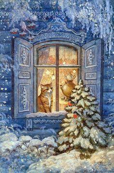 Winter cat by ArtGalla Christmas Scenes, Christmas Animals, Christmas Cats, Winter Christmas, Merry Christmas, Illustration Noel, Christmas Illustration, Winter Pictures, Christmas Pictures