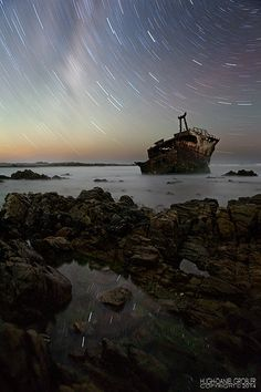 Silence of the Night by Hugh-Daniel Grobler on Landscape Photography, Africa, Waves, Sunset, Night, Outdoor, Sunsets, Outdoors, Landscape Pictures