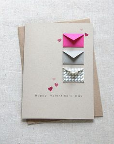 Items similar to Valentine& Card - Tiny Envelopes Card on Etsy - Tarjetas Diy, Diy Valentines Cards, Valentines Hearts, Diy Crafts For Gifts, Creative Crafts, Yarn Crafts, Card Envelopes, Handmade Birthday Cards, Valentine's Day Diy