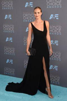 Model Rosie Huntington-Whiteley in black Saint Laurent at the Critics Choice Awards 2016.