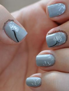 Grey Dandelion nail art