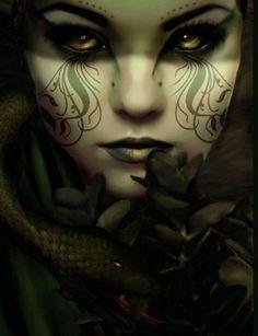 Dark fantasy woman Love the makeup Dark Fantasy Art, Fantasy Artwork, Fantasy Women, Dark Gothic, Gothic Art, Lotus Art, Vampire Art, Female Vampire, Angels And Demons