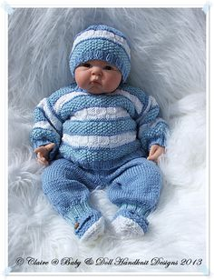 Striped Textured Sweater Set 16-22 inch doll/newborn/0-3m baby-babydoll handnknit designs, knitting pattern, baby, reborn