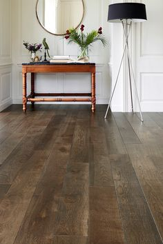 Galleria Professional Engineered European Rustic Oak Flooring X Ground Coffee Lacquered brings a sophisticated Art Deco feel to this hallway. Elegant yet hardwearing, it will add bags of character and vintage charm to any room in the home. Dark Wood Floors Living Room, Real Wood Floors, Wood Tile Floors, Wood Laminate Flooring, Engineered Wood Floors, Vinyl Flooring, Wood Floor Kitchen, Floors Kitchen, Dark Wood Kitchens