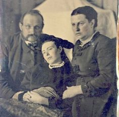 Mourning Photography - In post-mortem photographs the subject was usually depicted so as to seem in a peaceful sleep, or else arranged to appear more lifelike like the Victorian-era daughter shown in the photo above