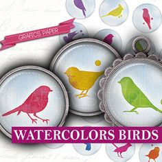 Watercolor Sheet Birds in love  digital collage by GraphicsPaper