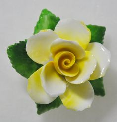Vintage Made In England English Bone China Yellow Dimensional Rose Flower Floral Pin Brooch