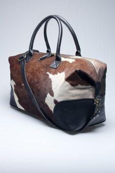 (18855) Fancy - Cowhide Duffle Bag by Found Object