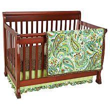 Paisley Splash 3-Piece Crib Bedding Set - Lime