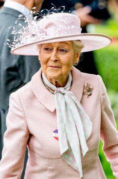 Jun 18, 2019 in RTM | Royal Hats Princess Haya, Jodie Kidd, Rachel Trevor Morgan, Kitty Spencer, Black Top Hat, Princess Alexandra, Burgundy Flowers, Royal Ascot, Cutwork