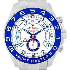 18687 Rolex Yachtmaster II Stainless Steel Blue Bezel Mens Watch 116680 SwissWatchExpo