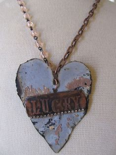 heart with etched copper tag