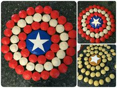 Avengers Hero: Captain America Shield Cupcake Cake, Made with 54 cupcakes two rows frosted red, and one frosted white, a small cake frosted blue, and a white fondant star.