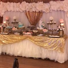 Birthday Party Decorations 555420566544793279 - Floral Glam Sweet Table by Sweet Madeline's with Opulent Treasures Chandelier Cake & Dessert Stands Source by Dessert Stand, Pink Dessert Tables, Pink Desserts, Quinceanera Decorations, Quinceanera Party, Wedding Decorations, Birthday Cake Table Decorations, 18th Birthday Party Ideas Decoration, Slumber Party Decorations