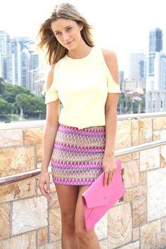 pink  mini bodycon skirt