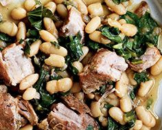Italian Cannellini Beans with Braised Pork Shoulder & Bitter Greens Braised Pork Shoulder, Bitter Greens, Curry Rice, How To Cook Pork, Noodle Bowls, Recipe Details, Soups And Stews, Dairy Free, Main Dishes