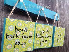 Decorative Bathroom & Hall Passes Teacher Classroom Gift on Etsy, $27.00